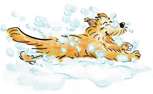 Kinderbuch Illustration: Cleo loves the snow, children's book illustration, © Gabriele Stautner, ARTIFOX