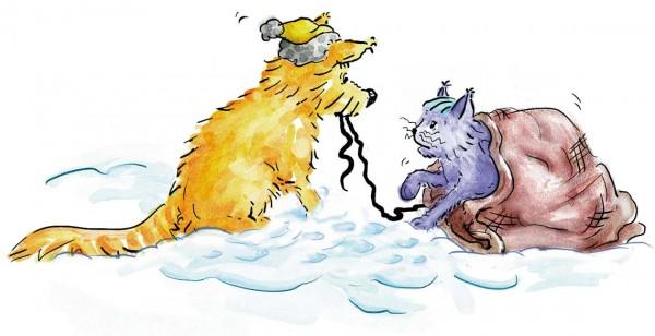 Kinderbuch Illustration: Cleo frees Kisa, children's book illustration, © Gabriele Stautner, ARTIFOX
