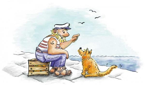 Illustration: Cleo asks the sailor, children's book illustration, © Gabriele Stautner, ARTIFOX