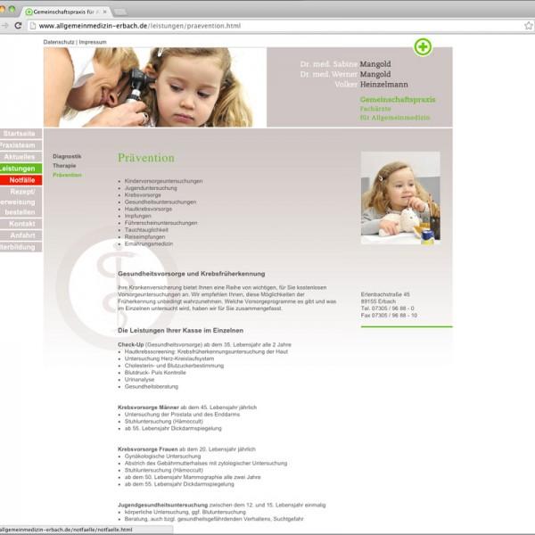Webdesign für die Allgemeinmedizinische Praxis Erbach, @ Frauke Vieregg und Gabriele Stautner