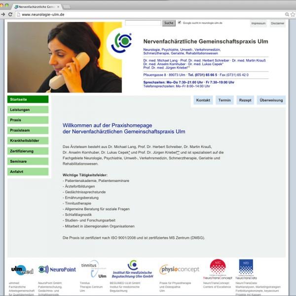 Webdesign für die Neuologische Gemeinschaftspraxis Ulm, © Gabriele Stautner, ARTIFOX