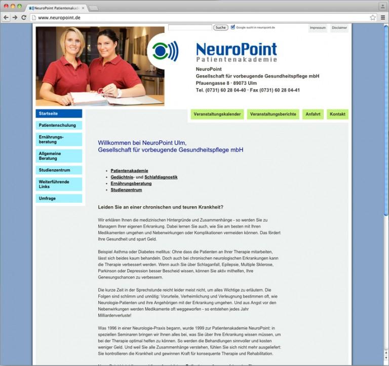 Webdesign für die NeuroPoint Patientenakademie, © Gabriele Stautner, ARTIFOX