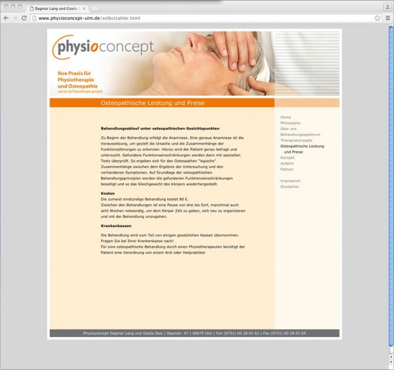 Webdesign für Physioconcept Ulm, © Gabriele Stautner, ARTIFOX