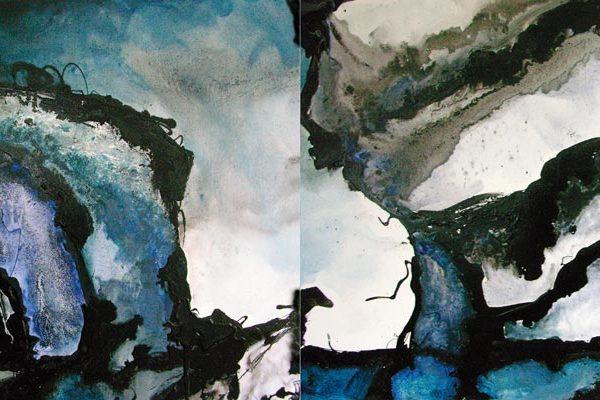 Malerei, Kunst: Gletschersee Jökulsarlon, Island, Acryl auf Leinwand, 240x100cm, ©Gabriele Stautner, ARTIFOX, Ulm,