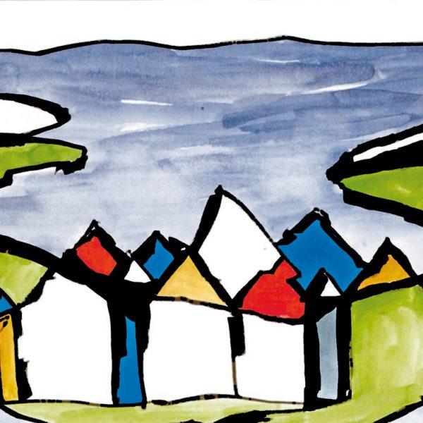 Malerei, Stadtlandschaft: Gabriele Stautner, ARTIFOX, Ulm, Reykjavik, Stadt am Fjord, Acryl auf Leinwand, 120x100cm