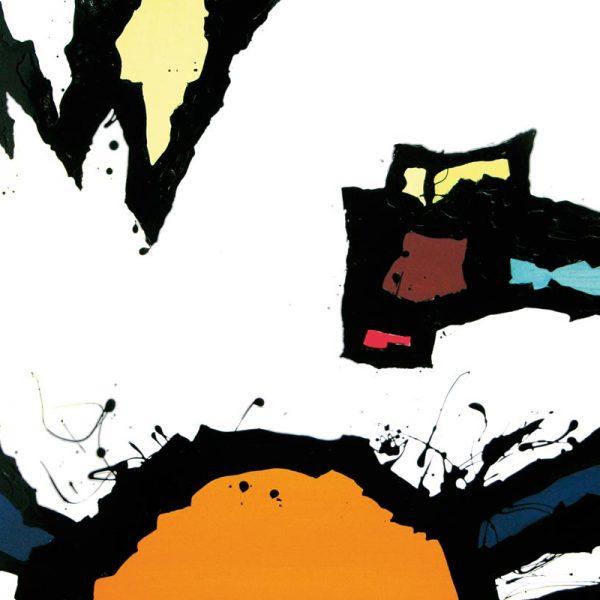 Malerei, Kunst: Die Sisyphoskugel versinkt bravourös, Acryl auf Leinwand, 100x120cm, ©Gabriele Stautner, ARTIFOX, Ulm