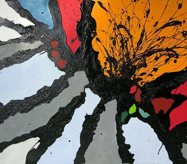 Malerei, Kunst: Vulkanausbruch, ©Gabriele Stautner, ARTIFOX, Ulm